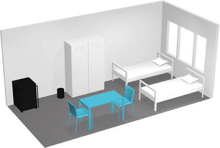 Accommodation for two people 3D view